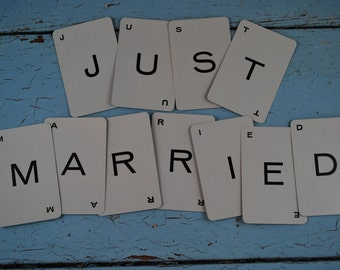 Vingtage Alphabet Cards:11 Cards - JUST MARRIED