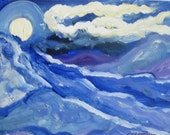 Original small oil painting, blue mountain moon landscape