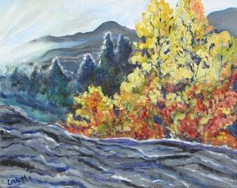 Western landscape painting, Original oil western landscape, autumn landscape, oil painting