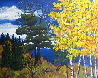 Aspen tree painting, Original oil painting, western landscape, aspen trees