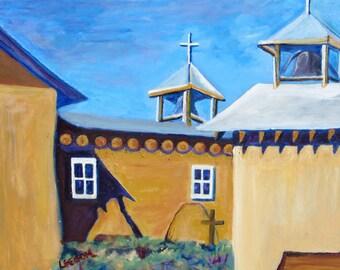 original oil painting, New Mexico Adobe church