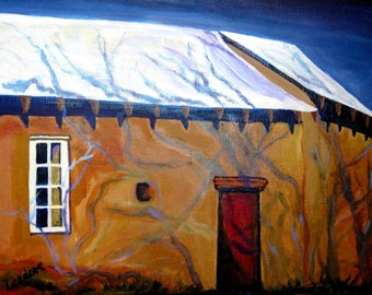 Adobe oil painting, Original oil painting, adobe New Mexico architecture