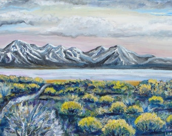 Mountain landscape painting, original large oil painting, Western landscape, mountains and lake