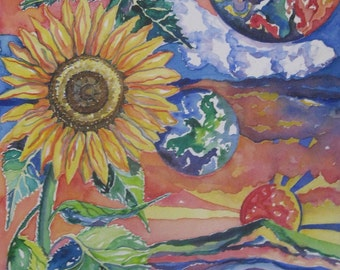 Sunflower watercolor painting, Original watercolor, sunflower landscape