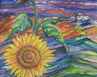 Sunflower watercolor painting, Large sunflower original watercolor painting, Sunflower large landscape watercolor