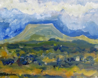 Small southwest painting, Small original oil southwest landscape, matted