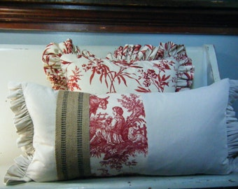 Linen Toile Lumbar Pillow with Upholstery Strapping and Ruffled Edges