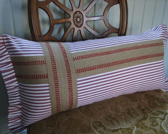 Red Ticking Lumbar Pillow with Ruffled Edges Accented with Upholstery Jute Webbing