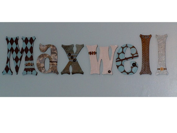 Customized Set of 6 Wooden Letters - 8 inch