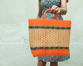 Large 'teco' Market Basket day glo orange