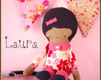 Sale! 30% off! Laura: eco-friendly retro doll made from upcycled fabrics african doll ethnic doll