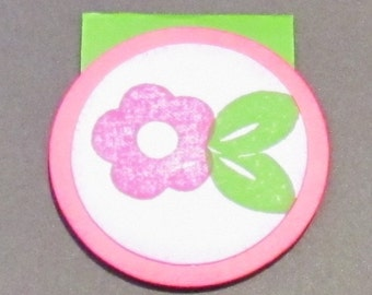 Magnetic Book Mark - Hand Stamped - Pink Posy