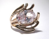 Swarvoski Crystal Ring-White Gold, Rhinestones, and Retro-FREE SHIPPING in U.S.