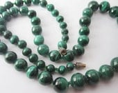 Vintage Emerald Tiger Eye Bead Necklace-Boho Chic-FREE SHIPPING in U.S.