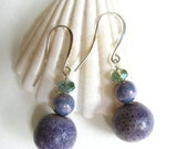 Purple Sponge Coral Earrings Lavender Czech Glass- One of a Kind Purple, silver plated elongated french ear wire