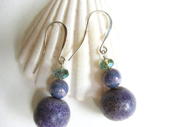 Purple Sponge Coral Earrings Lavender Czech Glass- One of a Kind Purple, silver plated elongated french ear wire