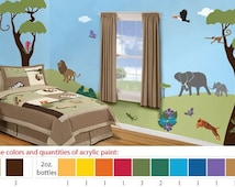Acrylic Stencil Paints for Jungle Safari Kids Room