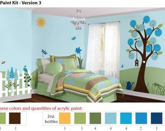 Acrylic Stencil Paints for Blue Flower Garden Girls Room