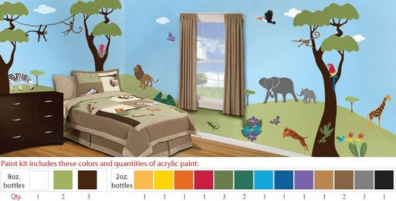 Acrylic Stencil Paints for Jungle Safari Kids Room