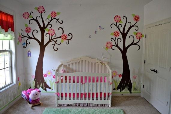 Flower Garden Wall Mural Stencil Kit For Girls By