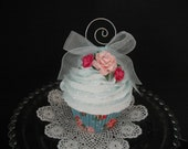 Fake Cupcake - Shabby Cottage Style Pink Roses with Photo Holder