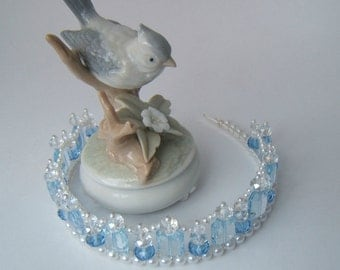 Pretty Light Blue Crystal Tiara