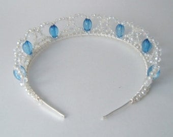 Hidden Heart Light Blue Bead, Clear Crystal and Pearl Tiara