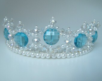 Crystal and Pearl Turquoise Princess Tiara
