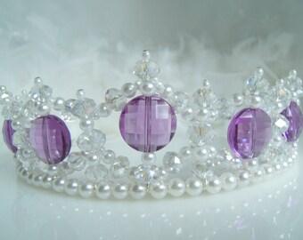 Crystal and Pearl Purple Princess Child's Tiara