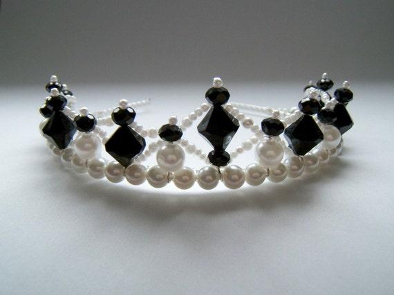 Black and White Beaded Tiara