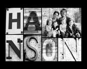 Custom 11x14 Name Collage (Unframed) - Black & White - Wedding, Christmas, Anniversary and Birthday Gift