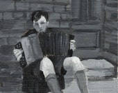 Boy Playing the Accordion, original painting
