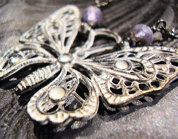 Fibromyalgia Awareness Shabby Chic Butterfly - Necklace