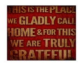 Rustic Canvas Wall Hanging This is the Place We Gladly Call Home (Red)  - 8x10