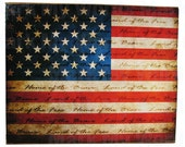 Rustic America Land of the Free Flag Magnet