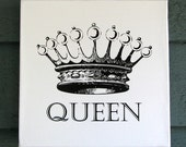Queen Crown on White Canvas Wall Hanging - 8x8