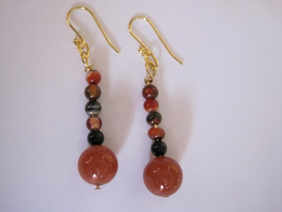 Earrings of Red Adventurine and Carnelian with 14GP Wires