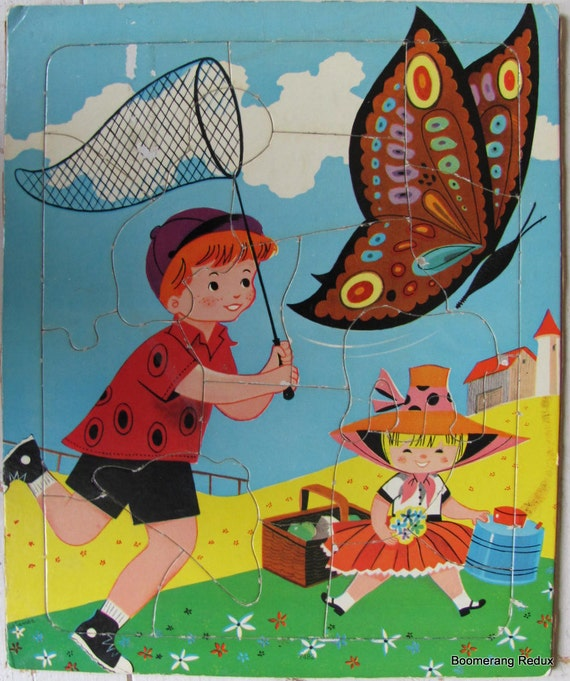 1950s Childrens Tray Puzzle - Netting a Butterfly
