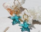Ocean Blue Earrings Gold Earrings Blue Swarovski Crystal Starfish Earrings Aqua Blue Earrings Teal Earrings Beach Jewelry Bridesmaid Gift