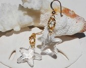 Starfish Earrings Swarovski Crystal Starfish Earrings Gold Earrings Beach Jewelry Mermaid Earrings Beach Wedding