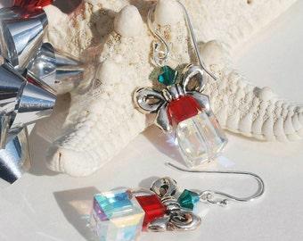 Swarovski Crystal Christmas Earrings Sterling Silver Dangle Earrings Gift Box Earrings Swarovski Crystal Earrings Stocking Stuffer Gift