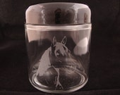 Horse Laser Etched Glass Jar - Small (4 oz) with air tight Plastic Lid