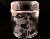 Les Claypool Laser Etched Glass Jar - Small (4 oz) with air tight Plastic Lid - Primus