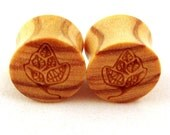 """Tree Graphic Wooden Plugs on Olivewood - 7/16"""" (11 mm) 1/2"""" (13 mm) 9/16"""" (14 mm) 5/8"""" (16mm) (17.5mm) 3/4"""" (19mm) Wood Ear Gauges"""