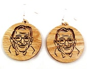 Joe Paterno Sustainable Wooden Earrings - in Oak - JoePa