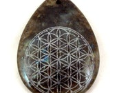 LAST ONE - Sacred Geometry - Stone Pendant - Labradorite Teardrop - Flower of Life necklace