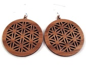 Flower of Life Sustainable Wooden Hook Earrings in Walnut - Sacred Geometry Dangle Earrings made of Sustainably Harvested Natural Wood