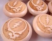 Stealie Etched Wooden Cabinet Knobs - Set of 30 - Grateful Dead