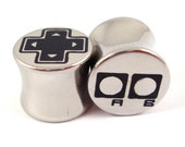 """Old-School Gamer Double Flared Plugs - Stainless Steel - 2g 0g 00g 7/16"""" (11 mm) 1/2"""" (13mm) 9/16"""" (14mm) 5/8"""" (16mm) - Metal Gauges"""