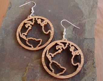 Globe Sustainable Wooden Hook Earrings - Earth Wood Dangle Earrings - Our Planet in Oak